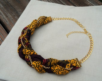 African Print Braided Bib Necklace