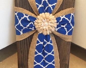 Blue Print and Burlap Cross