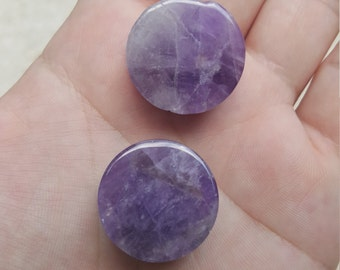 "Beautiful Unique Natural Amethyst Plugs Size 7/8"" 24 mm"
