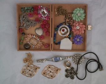 Destash SALE !!! /  Cigar Box Junk Treasure / Collage / Jewelry / Bits and Bobs /Mismatch/ 33 pieces / Bounty / Studio SALE