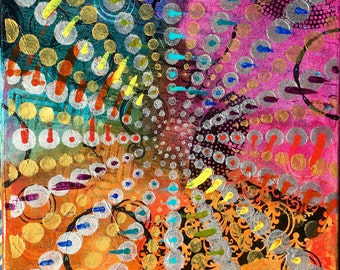 "12"" x 12"" Painting on Canvas - Rainbow Wheel"
