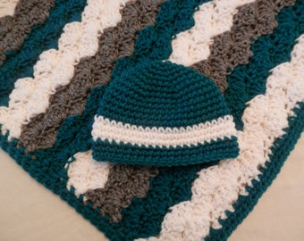 Crochet Baby Blanket with Matchining Hat, Green, White, Gray, Neutral Baby Blanket, Baby Shower Gift