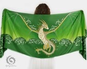Green silk scarf with a dragon wings - Magical guardian, Fantasy accessory, Earth dragon shawl, Mystical creature, Cute fairy dragon