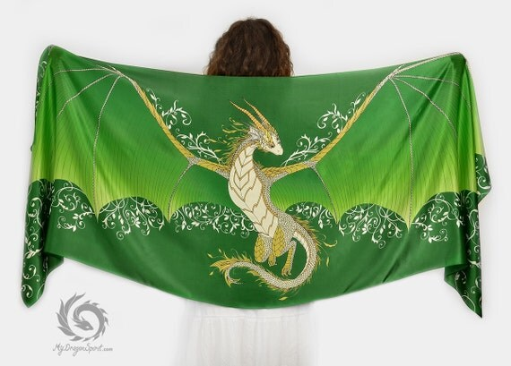 Green silk scarf with a dragon wings