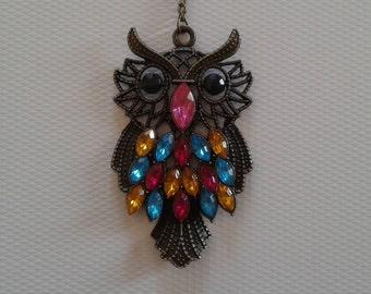 Big colorful owl pendant necklace, Long pendant necklace, Antique gold necklace, Antique gold chain