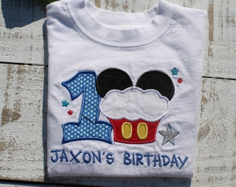 Mickey Mouse Cupcake 1st Birthday Shirt