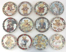 Set of 12 Franklin Mint Heirloom TEDDY BEAR Collector Plates - Limited Editions