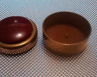 Solid Brass and Red Enamel Trinket/Pill Box with lid