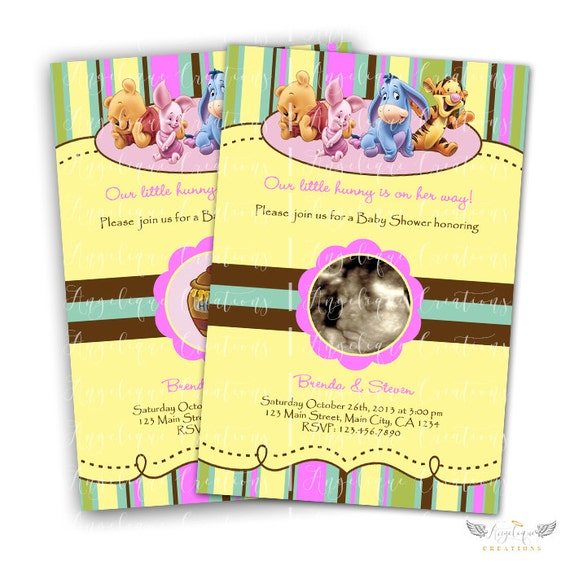 Baby Winnie The Pooh Baby Shower Invitations for Girls & Blank Thank You Card to match