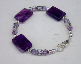 """7"""" Amethyst Gemstone Swarovski Crystal Beaded Bracelet"""