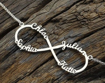 Silver Infinity Name Necklace,Interlocking Hoop 4 Name Necklace,Personalized Infinity Pendant Necklace - Gift for her
