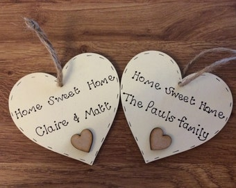 Personalised house warming/ new home gift handmade wooden heart