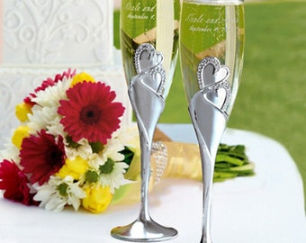 Personalized Sparkling Love Wedding Toasting Flutes - FREE SHIPPING & Engraved with Name and Wedding Date