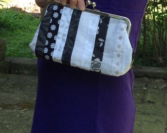 Black and white pieced clutch, black and white purse, black and white handbag