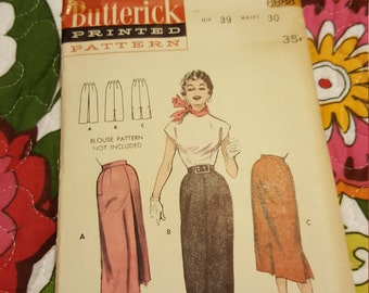 1960 Butterick#6888 size 30 waist  /39 hip  Already Cut