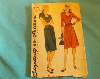 Reduced 1940 Simplicity #1419  Vintage Pattern Size 18