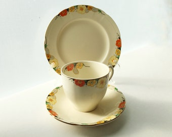 Art Deco Alfred Meakin Raymond Pattern Tea Cup, Saucer, Cake Plate - Royal Marigold Set of 3 Pieces - Floral Yellow & Orange Primroses