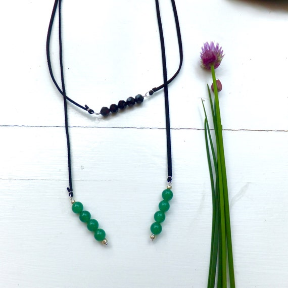 Green Aventurine // Black Crystal Wrap