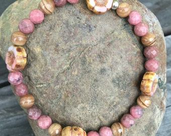 Rhodonite & Tigerskin Jasper w/Hibiscus Flower glass bead