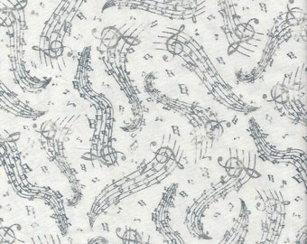 Music Notes, Gray on White ,Timeless Treasures