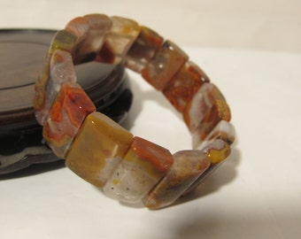 Natural Colored Agate Hand Made Stretch  Bracelet