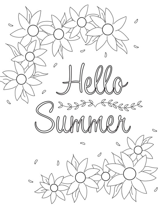 Coloring Pages Hello Summer Related Keywords & Suggestions