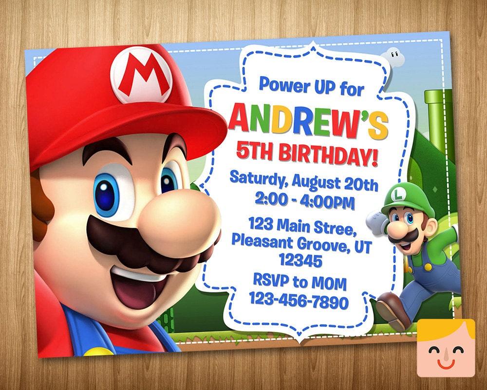 Super Mario Party Invitations was luxury invitation template