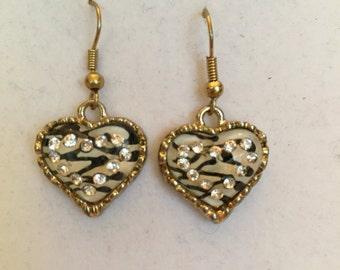 Smokey Crystal Zebra Petite Heart Drop Earrings