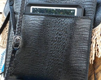 Crocodile embossed modern messenger bag