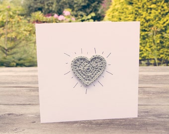 Crochet Grey Heart Card