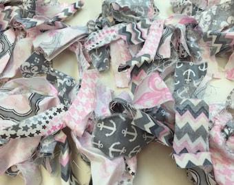 Pink grey and white garland