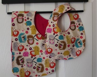 Colorful Hedgehog Bib & Burp Set