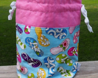 Flip Flop Knitting Project Drawstring Bag w Pockets & Extras