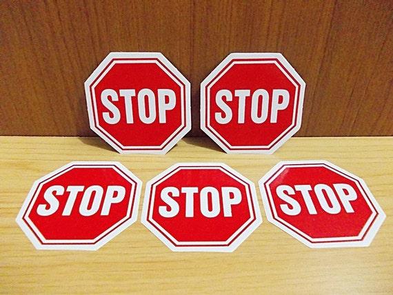Stop Warning Sign Sticker 5 Pcs Set Regular Eight Sided
