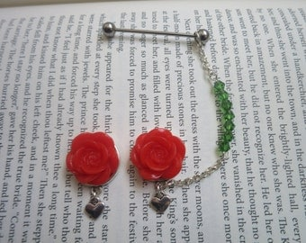 Red Rose Plugs with Scaffolding/Industrial Chain - 8mm Plugs, 10mm Plugs, 12mm Plugs, 14mm Plugs, 16mm Plugs or Earrings