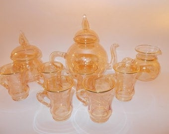 9 PCS Glass Pyrex Tea Set, Handmade .
