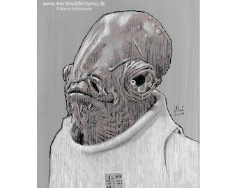 Star Wars Episode 6 Admiral Ackbar - Sketch Drawing Zeichnung - Original