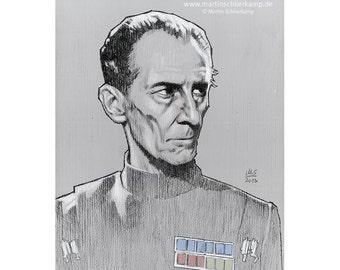 Star Wars Episode 4 Grand Moff Tarkin - Sketch Drawing Zeichnung - Original