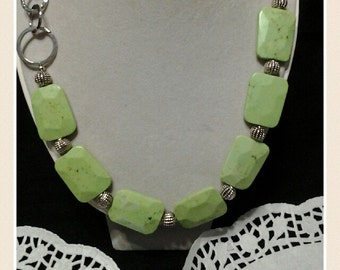 Silver link with Lime Turquoise necklace