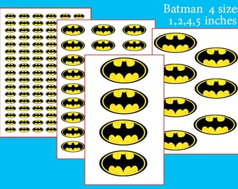 INSTANT DL- Batman-for Balloon, Stickers, Lollipop, Favor bags, Cups - Batman birthday party (SET of 4 sizes)
