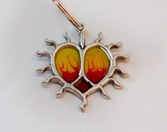 Fire heart keychain