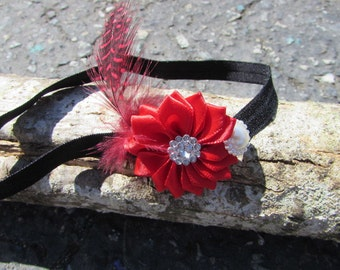 Red Feather Baby Headband- Vintage inspired Retro 1920s Headband- Great Gatsby Red Headband