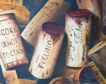 Printing oil painting by me made. Corks, print to print wine for cooking.
