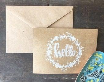 Hand Drawn Hello Card Pack//Pack of 5//ALL HAND DRAWN//Floral Wreath Cards