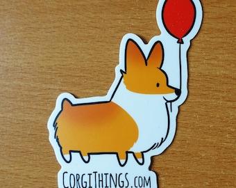 Corgi Things Sticker (Red) | Vinyl Corgi Sticker | Red Pembroke Welsh Corgi | Corgi Stickers