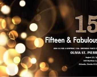 15th birthday Invitation