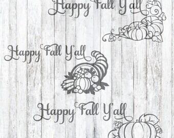 3 SVG Files Happy Fall Y'all, Fall DIY, Fall Decor, Fall SVG, Happy Fall Y'all svg