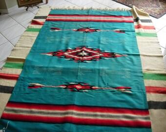 Chimayo Blanket Vintage 1930's Turquoise