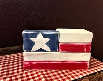 2x4 American Flag Blocks   4th of July Decor   Patriotic Decor   Independence Day   Rustic Flag   USA