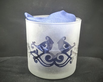 Up Cycled Votive Candle Holder Etched With Lovebirds